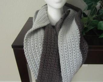 Gray Crochet Extra Long Infinity Cowl