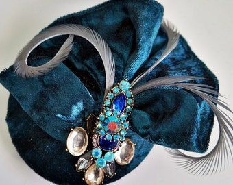 Blue Velvet Feather jeweled Fascinator