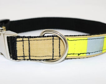 Firefighter Dog Collar - Tan/yellow refector Turnouts - Aluminum buckle