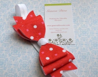 NEW-Retro Red with Pink Dots Felt Bow Stretch Headband