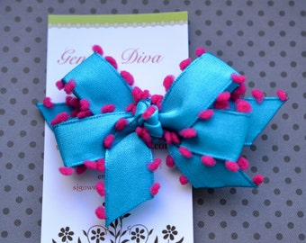 Turquoise with Pink Poms MINI Diva Bow