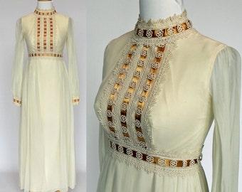 60's  Empire Waist Prom Dress /  Bridesmaid Dress / Long Sheer Sleeves / Buttercream Chiffon & Gold / XSmall