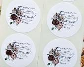 Stickers Envelope Seals Paris Flower Wedding Party Favor Treat Bag Sticker SP063