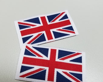 50pcs Damask Woven UK Flag Lables Free Shipping
