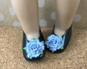 """Fits American Girl Doll Shoes for 18"""" Dolls Embellished Black Slip On Shoes with Medium Blue Flowers Doll Accessories"""