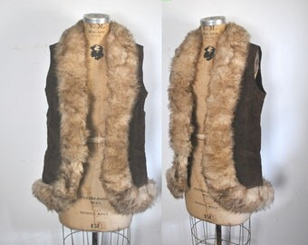 Sheep Shearling Fur Vest / Brown Suede / M-L