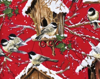 Chickadee Birds with Snow Covered Birdhouses Fabric by Timeless Treasures (by the yard)