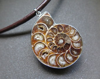 men's necklace. fossil jewelry. ammonite pendant jewelry. brown leather.