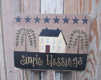 Primitive Hand Painted Saltbox House Willow Trees and Stars Horizontal Personalized Wooden Sign GCC3605