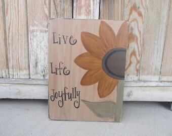 Primitive Sunflower Hand Painted Wooden Sign GCC4958