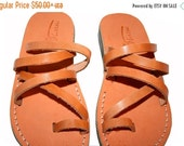 20% OFF Caramel Buckle-Free Leather Sandals for Men & Women