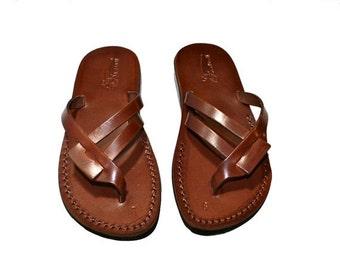 15% OFF Brown Hoya Leather Sandals for Men & Women - Handmade Sandals, Leather Flip Flops, Jesus Sandals, Unisex Sandals, Brown Leather Sand