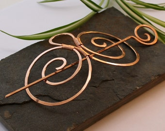 Double Spiral Hair Barrette - Smooth Bronze - Hair clip