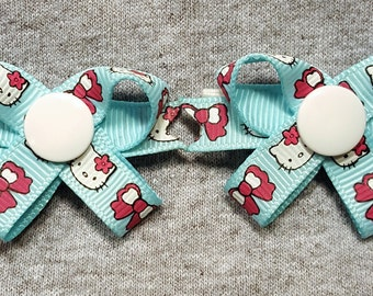 Hello Kitty Cat Blues -  Snap N Go Dog Hair Bows - Set of 2 or Custom Single