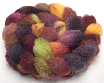 Hand dyed roving, tops, EXMOOR HORN, English ,hand painted, 100g, colour; Larkbarrow