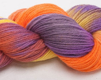 Hand dyed yarn, hand painted DK, BFL yarn, 100g skein, knit, crochet, weave, colour; Glee