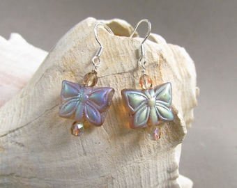 Topaz Butterfly Earrings, Beaded Jewelry, Animal Earrings, Spring Fashion, Mother's Day, Easter, Gift Giving, Harleypaws, SRAJD