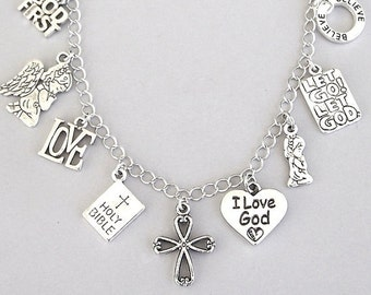 Christianity bracelet or Christian necklace, religious charm bracelet, Jesus inspirational, I Love God, cross, Holy Bible, faith, angel