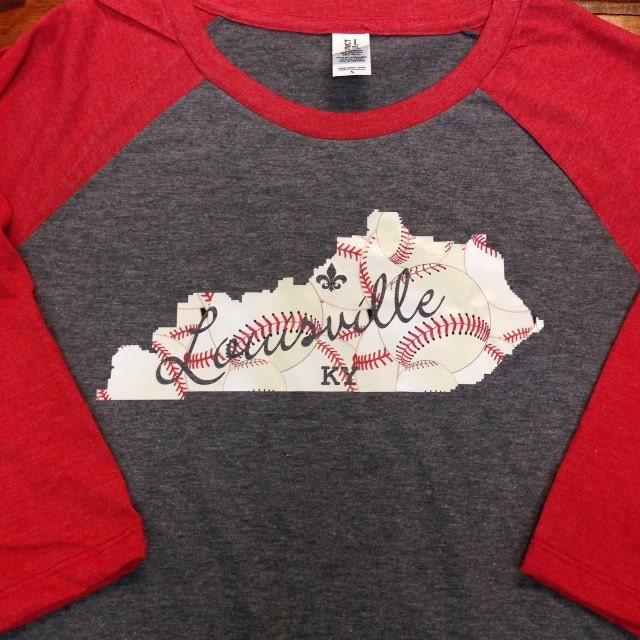 Louisville kentucky baseball t shirt raglan baseball tee for Louisville t shirt printing