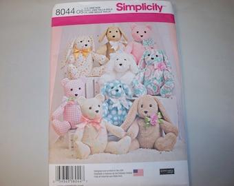 New Simplicity Bear, Rabbit and Dog Pattern 8044 (Free US Shipping)
