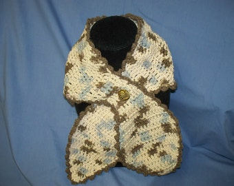 Fancy, Cotton, Crochet  Fashion Scarf  with Fancy Button (Free US Shipping)