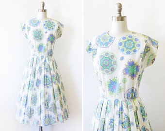 1960s floral dress, vintage 60s white floral dress, medium R&K Originals dress