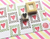 postage stamp rubber stamps. love heart hand carved rubber stamp. snail mail packaging stamp. diy valentine wedding holiday crafts. set of 2