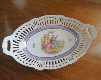 Schwarzenhammer Porcelain Bowl, Reticulated Cutouts, Antique Display Plate, Romantic Couple and Castle, Bavaria