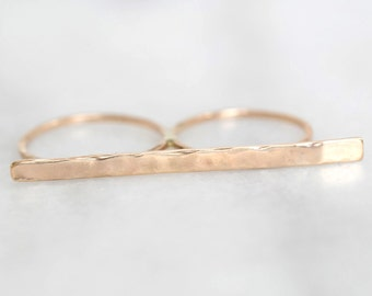 Gold Bar Double Finger Ring- Minimal, Modern, Easy to Wear...A MUST HAVE