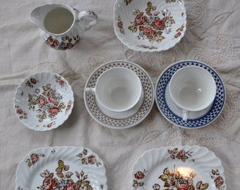 Proper English Tea For Two/2 Vintage Ironstone Tea Cups and Saucers W Vintage Creamware Dishes/Two Plates Milk Pitcher Two Bowls
