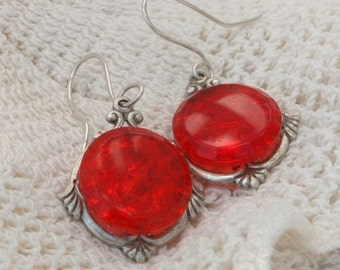 Button Earrings made w Art Deco Red Glass Buttons and Hand Crafted Sterling Silver Wires