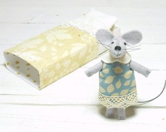Woodland animals nursery decor mouse in his matchbox bed baby shower wool felted animals creatures decorations mouse in matchbox beige blue