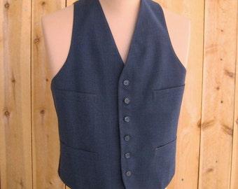 Men's 40's Vintage Wool Suit Vest, Blue Plaid 4 Pocket Waistcoat, 6 Button, Buckle Back, Cotton Lined, WWII Era Dated 1942, Chest 40