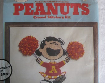"Vintage Crewel stichery kit, ""Lucy Cheerleader"" from the Peanuts gang, from the 1980s'"