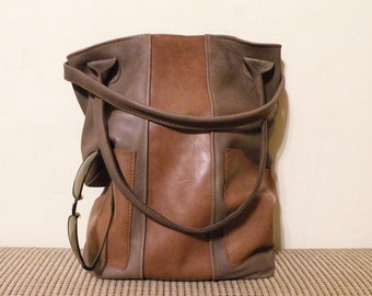 "brown leather tote, bag with pockets - ooak handmade designer leather bag - italian quality leather ""FRANCESCA"""