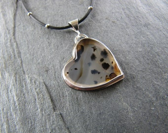 Montana Agate Heart Necklace in Sterling Silver