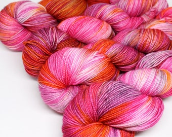 Hand Dyed Speckled Sock Yarn - SW Sock 80/20 - Superwash Merino Nylon - 400 yards - Burning Love