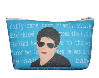 LOU REED . take a walk on the wild . side velvet underground makeup bag pouch... 2 sizes... original drawing