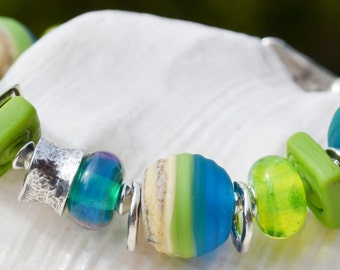 Reserve for Cheryl-SOUL SEARCHING-Handmade Lampwork and Sterling Silver Bracelet
