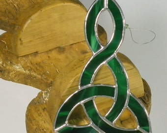 Dark green Stained glass Celtic Knot Suncatcher  & Window ornament