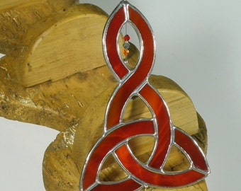 Red Stained glass Celtic Knot Suncatcher  & Window ornament