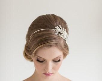 Crystal Pearl Headband, Wedding Headpiece, Crystal Pearl Tiara