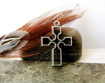 Sterling Silver Cross 925  Sterling Silver Pendant Charm Necklace Pendant #222