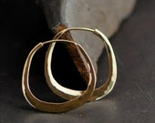 14k yellow gold hoop earrings, cushion, square, small, 1 inch ish, mirror finish, smooth texture, in stock, ready to ship