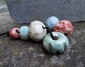 Reserved for Sue C. Artisan made ceramic beads - set of 6  - light green, turquoise, off white and pink coral - L to XL