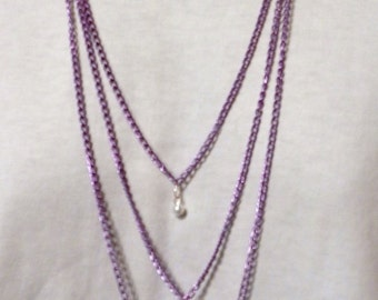 Handmade Triple Layered  Pearl Drop Sweater Purple  Necklace