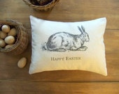 Vintage style Easter pillow / easter bunny / happy easter / rabbit / spring / gray / antique / natural cotton /