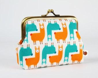 Metal frame coin purse - Mini alpacas in teal and orange - Deep dad / Suzy Ultman / Green red llama