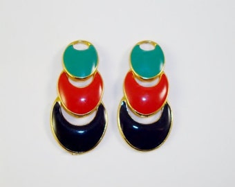 Vintage Multi Color Enamel Vintage Post  Earrings