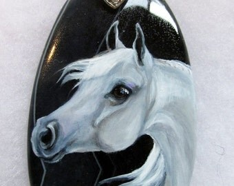 White Gray Arabian Horse Art Pendant for necklace jewelry